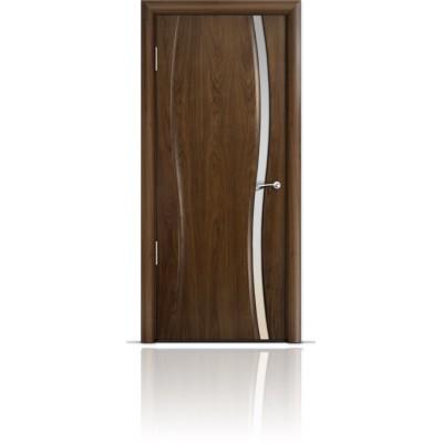 Межкомнатная Дверь Мильяна Омега-1 Американский орех триплекс узкий белый