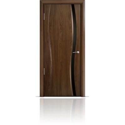 Межкомнатная Дверь Мильяна Омега-1 Американский орех триплекс узкий черный
