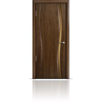 Межкомнатная Дверь Мильяна Омега-1 Американский орех триплекс узкий бронзовый