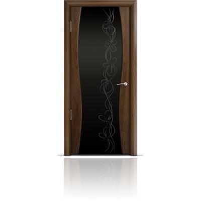 Межкомнатная Дверь Мильяна Омега-1 Американский орех триплекс черный Фантазия