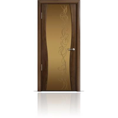 Межкомнатная Дверь Мильяна Омега-1 Американский орех триплекс бронзовый Фантазия