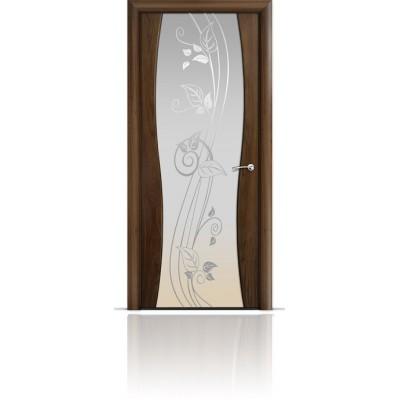 Межкомнатная Дверь Мильяна Омега-1 Американский орех триплекс белый Нежность