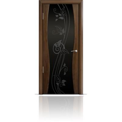 Межкомнатная Дверь Мильяна Омега-1 Американский орех триплекс черный Нежность