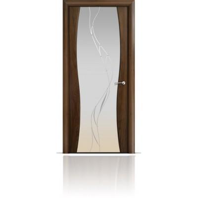 Межкомнатная Дверь Мильяна Омега-1 Американский орех триплекс белый Иллюзия