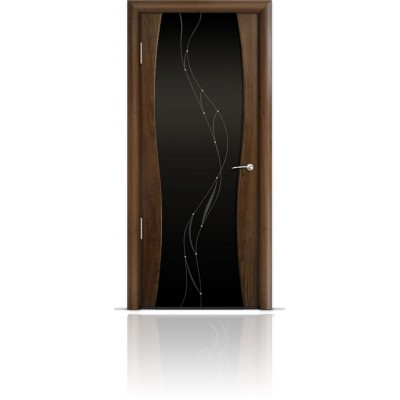 Межкомнатная Дверь Мильяна Омега-1 Американский орех триплекс черный Иллюзия