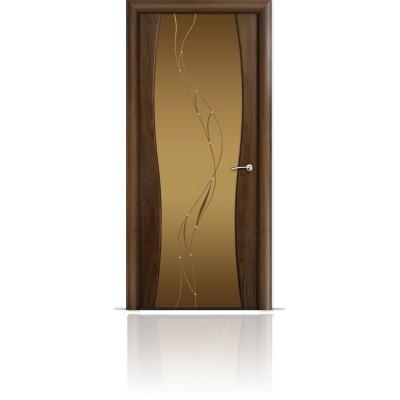 Межкомнатная Дверь Мильяна Омега-1 Американский орех триплекс бронзовый Иллюзия