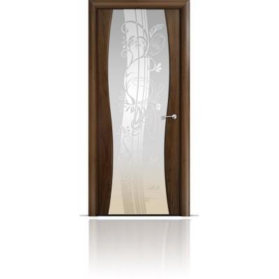 Межкомнатная Дверь Мильяна Омега-1 Американский орех триплекс белый Мотив