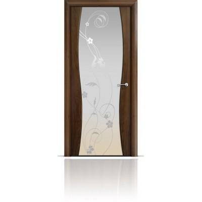 Межкомнатная Дверь Мильяна Омега-1 Американский орех триплекс белый Фиалка