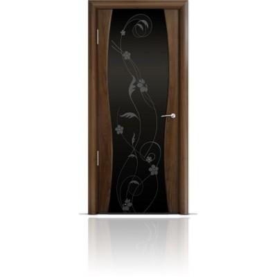 Межкомнатная Дверь Мильяна Омега-1 Американский орех триплекс черный Фиалка