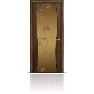 Межкомнатная Дверь Мильяна Омега-1 Американский орех триплекс бронзовый Фиалка