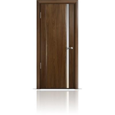 Межкомнатная Дверь Мильяна Омега-2 Американский орех триплекс узкий белый