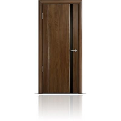 Межкомнатная Дверь Мильяна Омега-2 Американский орех триплекс узкий черный