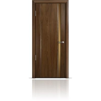 Межкомнатная Дверь Мильяна Омега-2 Американский орех триплекс узкий бронзовый