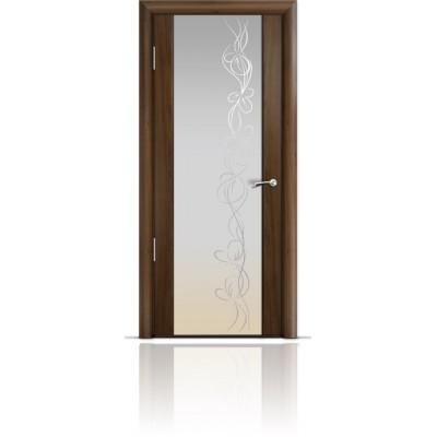 Межкомнатная Дверь Мильяна Омега-2 Американский орех триплекс белый Фантазия