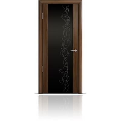 Межкомнатная Дверь Мильяна Омега-2 Американский орех триплекс черный Фантазия
