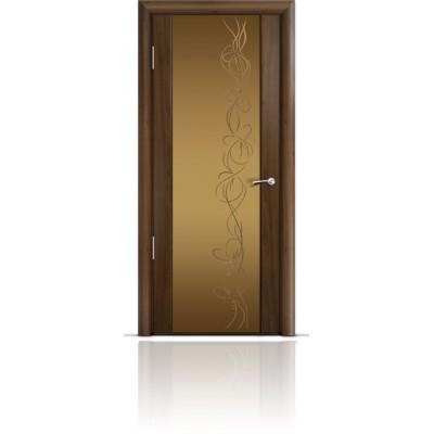 Межкомнатная Дверь Мильяна Омега-2 Американский орех триплекс бронзовый Фантазия