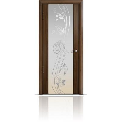 Межкомнатная Дверь Мильяна Омега-2 Американский орех триплекс белый Нежность