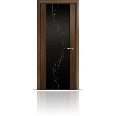 Межкомнатная Дверь Мильяна Омега-2 Американский орех триплекс черный Иллюзия