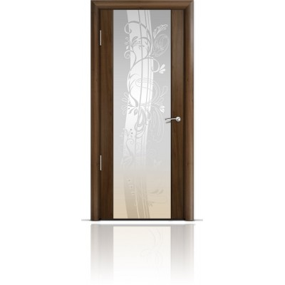 Межкомнатная Дверь Мильяна Омега-2 Американский орех триплекс белый Мотив