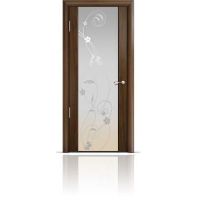 Межкомнатная Дверь Мильяна Омега-2 Американский орех триплекс белый Фиалка