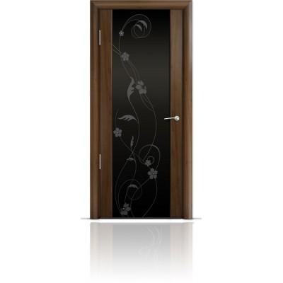 Межкомнатная Дверь Мильяна Омега-2 Американский орех триплекс черный Фиалка