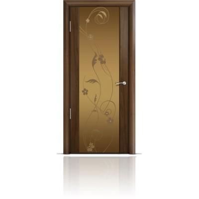 Межкомнатная Дверь Мильяна Омега-2 Американский орех триплекс бронзовый Фиалка