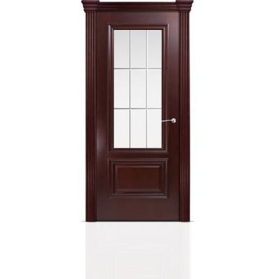 Межкомнатная Дверь Мильяна Бристоль Премиум Красное дерево стекло Премиум белое