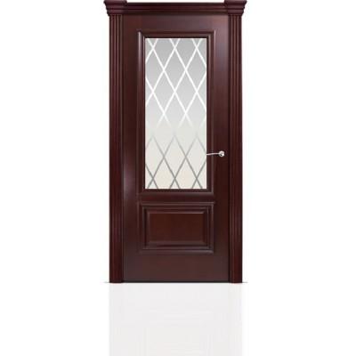 Межкомнатная Дверь Мильяна Бристоль Премиум Красное дерево стекло Готика белое