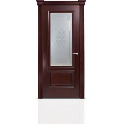Межкомнатная Дверь Мильяна Бристоль Премиум Красное дерево стекло Кларис белое