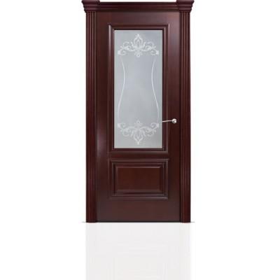 Межкомнатная Дверь Мильяна Бристоль Премиум Красное дерево стекло Лициция белое