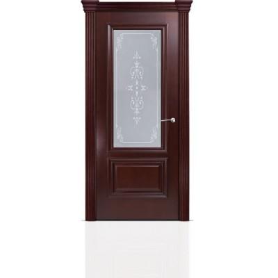 Межкомнатная Дверь Мильяна Бристоль Премиум Красное дерево стекло Эстель белое