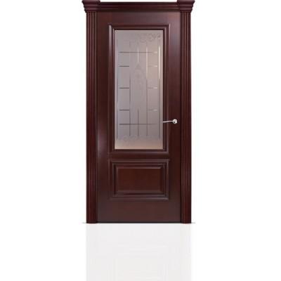Межкомнатная Дверь Мильяна Бристоль Премиум Красное дерево стекло Византа бронза