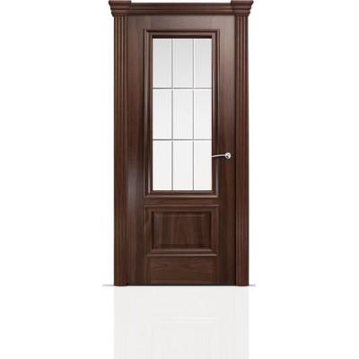 Межкомнатная Дверь Мильяна Бристоль Премиум Американский орех стекло Премиум белое