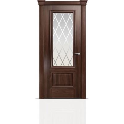 Межкомнатная Дверь Мильяна Бристоль Премиум Американский орех стекло Готика белое