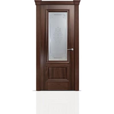 Межкомнатная Дверь Мильяна Бристоль Премиум Американский орех стекло Кларис белое