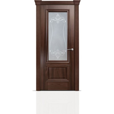 Межкомнатная Дверь Мильяна Бристоль Премиум Американский орех стекло Лициция белое