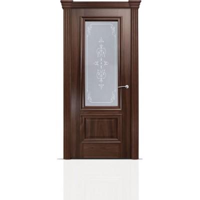 Межкомнатная Дверь Мильяна Бристоль Премиум Американский орех стекло Эстель белое