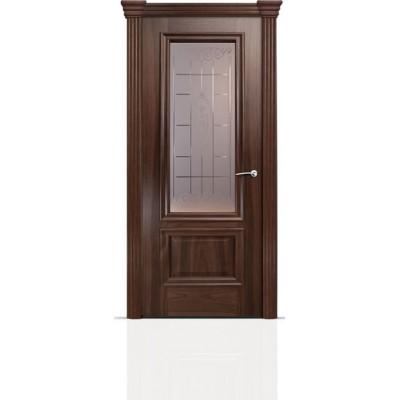 Межкомнатная Дверь Мильяна Бристоль Премиум Американский орех стекло Византа бронза
