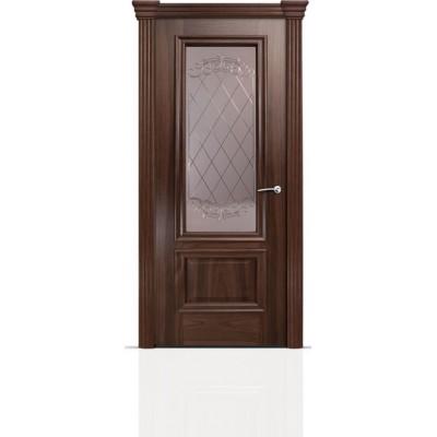 Межкомнатная Дверь Мильяна Бристоль Премиум Американский орех стекло Арианда бронза