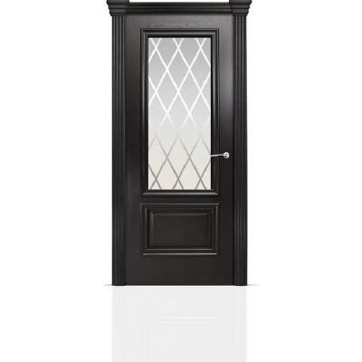 Межкомнатная Дверь Мильяна Бристоль Премиум Ясень винтаж стекло Готика белое