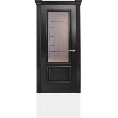 Межкомнатная Дверь Мильяна Бристоль Премиум Ясень винтаж стекло Византа бронза