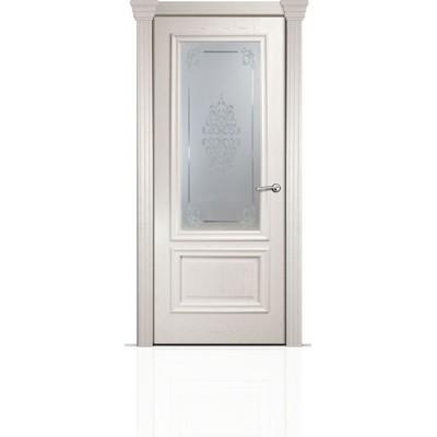 Межкомнатная Дверь Мильяна Бристоль Премиум Ясень жемчуг стекло Кларис белое