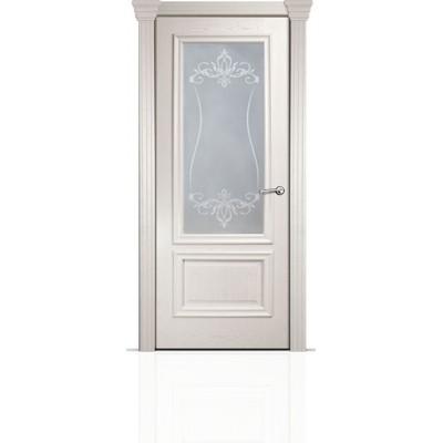 Межкомнатная Дверь Мильяна Бристоль Премиум Ясень жемчуг стекло Лициция белое