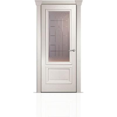 Межкомнатная Дверь Мильяна Бристоль Премиум Ясень жемчуг стекло Византа бронза