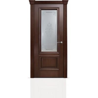 Межкомнатная Дверь Мильяна Бристоль Премиум Итальянский орех стекло Кларис белое