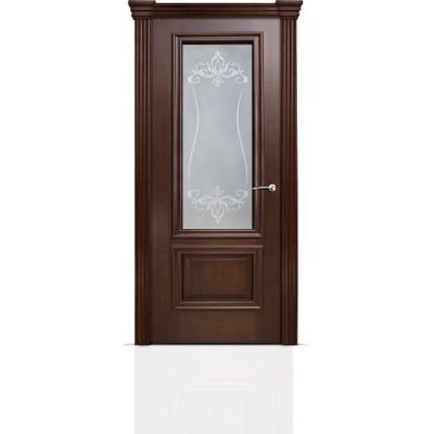 Межкомнатная Дверь Мильяна Бристоль Премиум Итальянский орех стекло Лициция белое