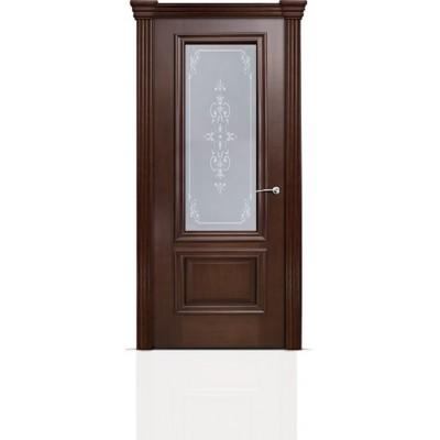 Межкомнатная Дверь Мильяна Бристоль Премиум Итальянский орех стекло Эстель белое