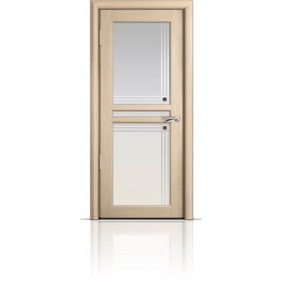 Межкомнатная Дверь Мильяна Натель-1 Беленый дуб стекло
