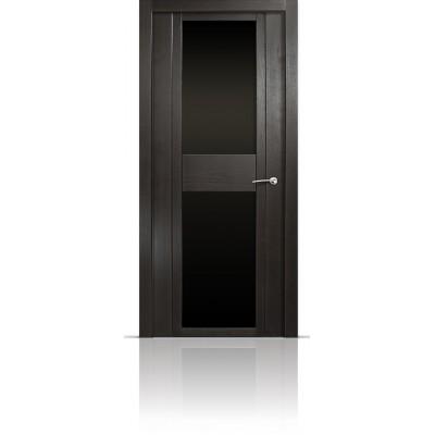 Межкомнатная Дверь Мильяна Qdo-D Ясень винтаж стекло черное