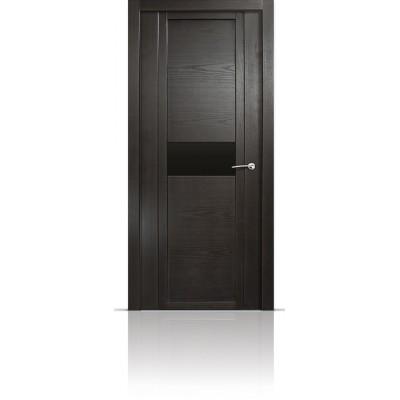 Межкомнатная Дверь Мильяна Qdo-H Ясень винтаж стекло черное